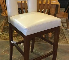White Leather Stool Chair
