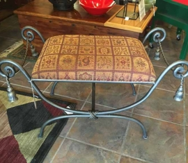 Wrought Iron Padded Bench