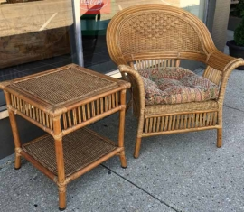 Wicker Chair & End Table