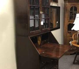Burled Wood Secretary Desk-Hutch