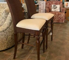 Wicker/Wood Bar Stools