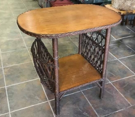 Antique Wicker Lamp Table