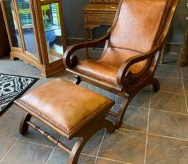 Grandin Road Leather Chair & Ottoman
