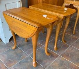 Oak Drop-leaf End Tables