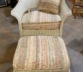 Antique Wicker Chair & Ottoman