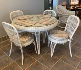 Antique Wicker Dining Set