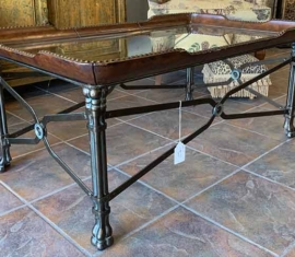 Glass-top Coffee Table w/ leather trim